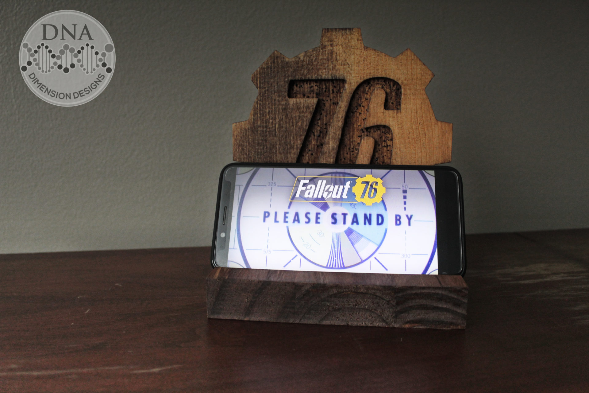 Fallout 76 Wood Phone Stand